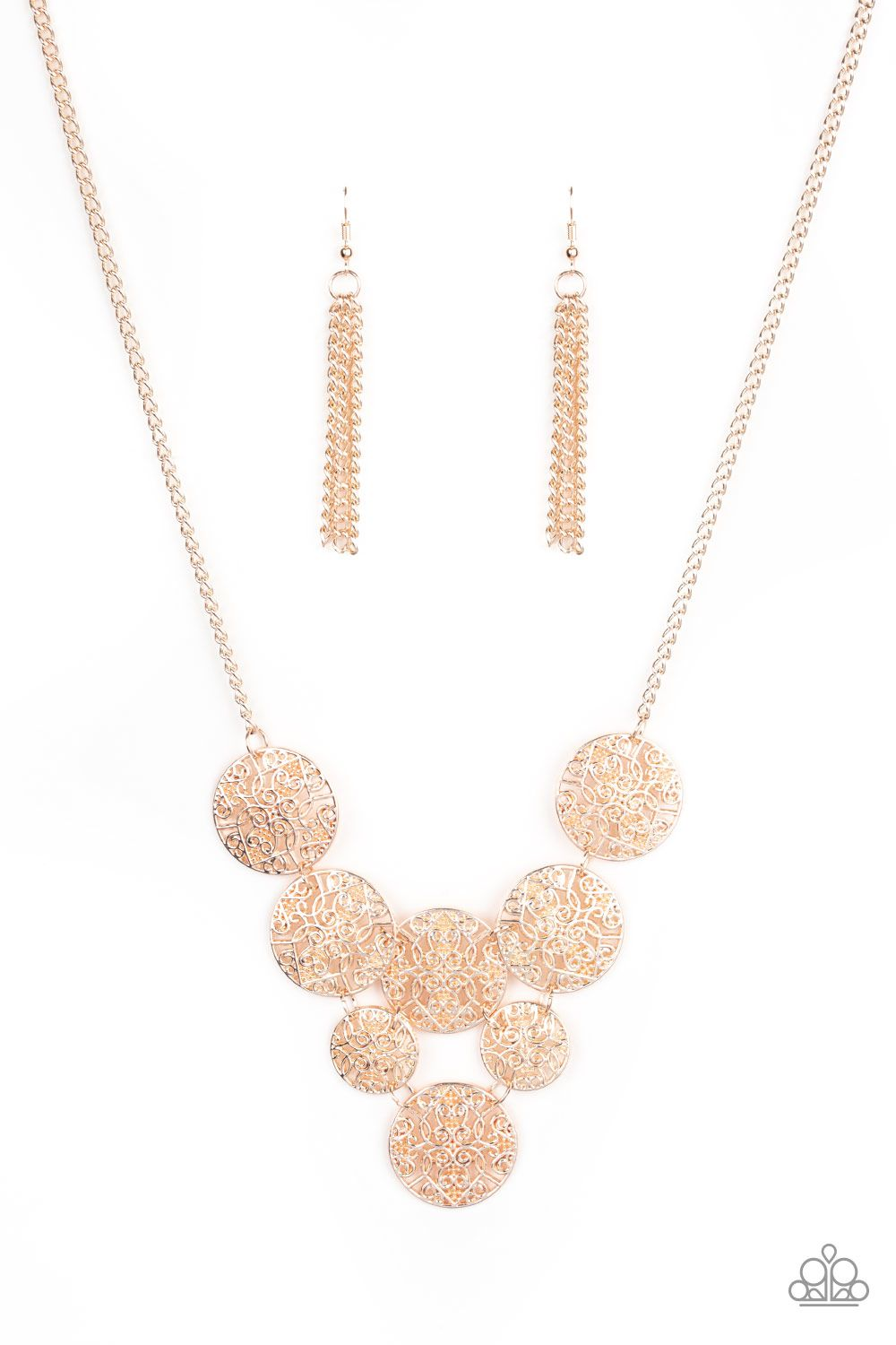 Malibu Idol Rose Gold In 2020 Paparazzi Accessories Jewelry Gold Necklace Set Rose Gold Necklace