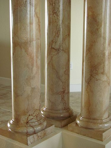 Another faux marble on columns columns marbles and for Faux marble painting techniques