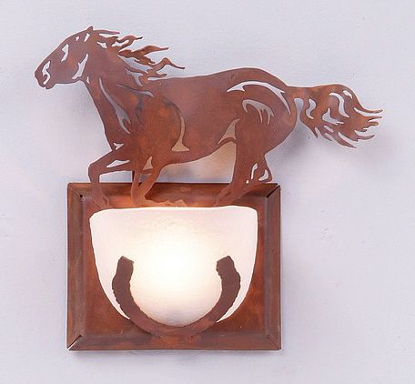 Canyon Halogen Horse Half Round Wall Sconce