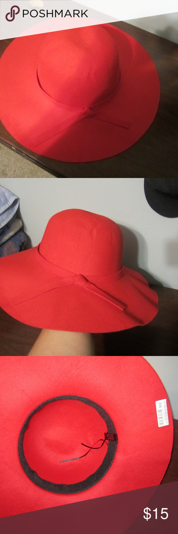 VERY CUTE WIDE RED FLOPPY HAT GREAT FOR FALL BRAND NEW STILL HAS STICKER ON IT. IS FLOPPY WHEN YOU PUT IT ON :) N/A Tops Blouses