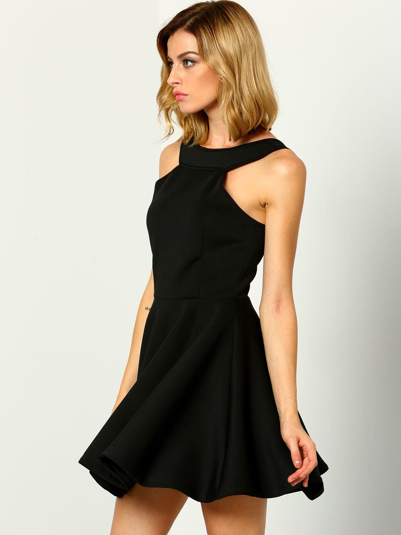 Black Halter Backless Flare Dress Shein Sheinside Black Graduation Dress Dresses Grad Dresses [ 1785 x 1340 Pixel ]