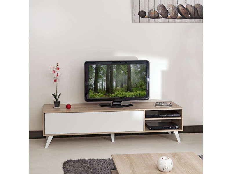 Meuble tv Coloris chêne blanc - Vente de Meuble tv - Conforama