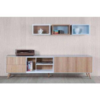 mueble tv nordic y 3 estantera cube - Muebles Nordicos Baratos