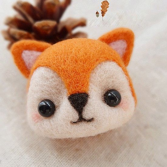 Needle Felted Felting project Wool Animals Orange Fox Cute Craft #feltedwoolanimals