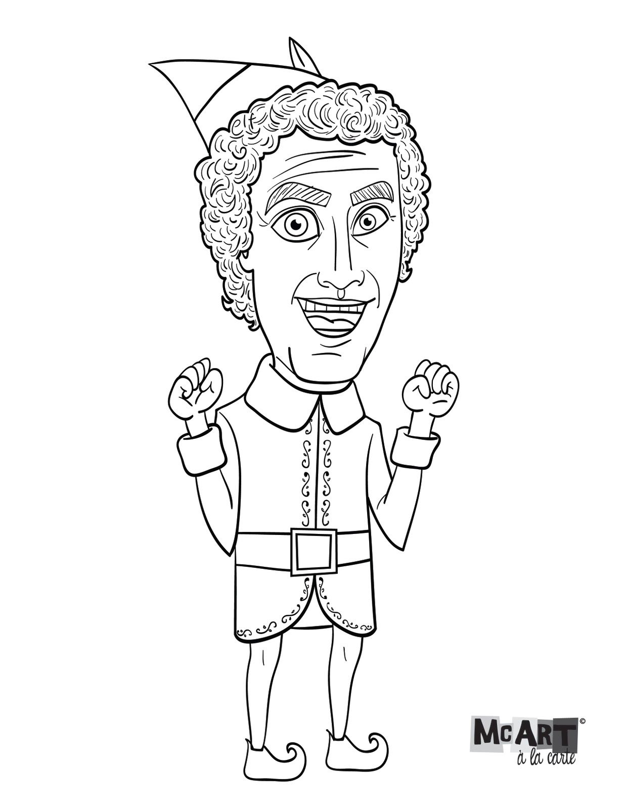 Printable coloring pages elf on the shelf - Mcart La Carte Buddy The Elf Coloring Page