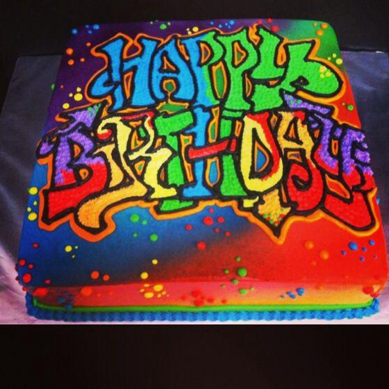Cake Art Hours : Graffiti birthday cake Freehand cakes created by Iris ...