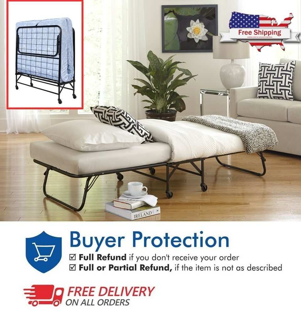 Us Folding Space Saving Guest Bed Frame Twin Size Portable