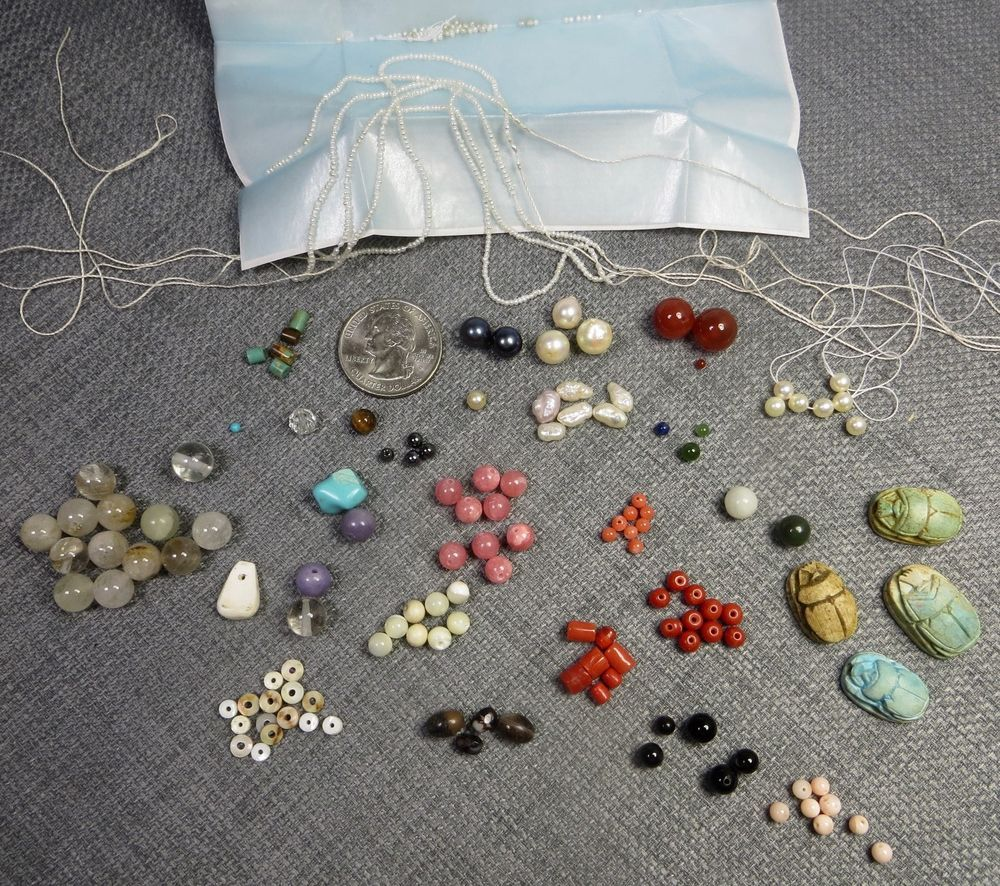 Lot Loose Beads Unused Gemstone Pearl Shell Scarabs Free Flat Rate Shipping Gemstones Natural Gemstones Beads