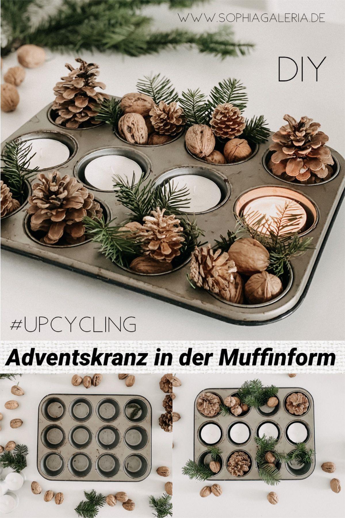 Upcycling DIY Adventskranz in der Muffinform mit Nüssen