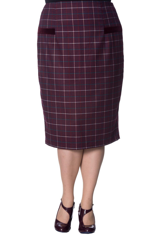 e82adf5cc4a27 BANNED Apparel - Maddy Pencil Plus Size Skirt 2xl Bordeaux