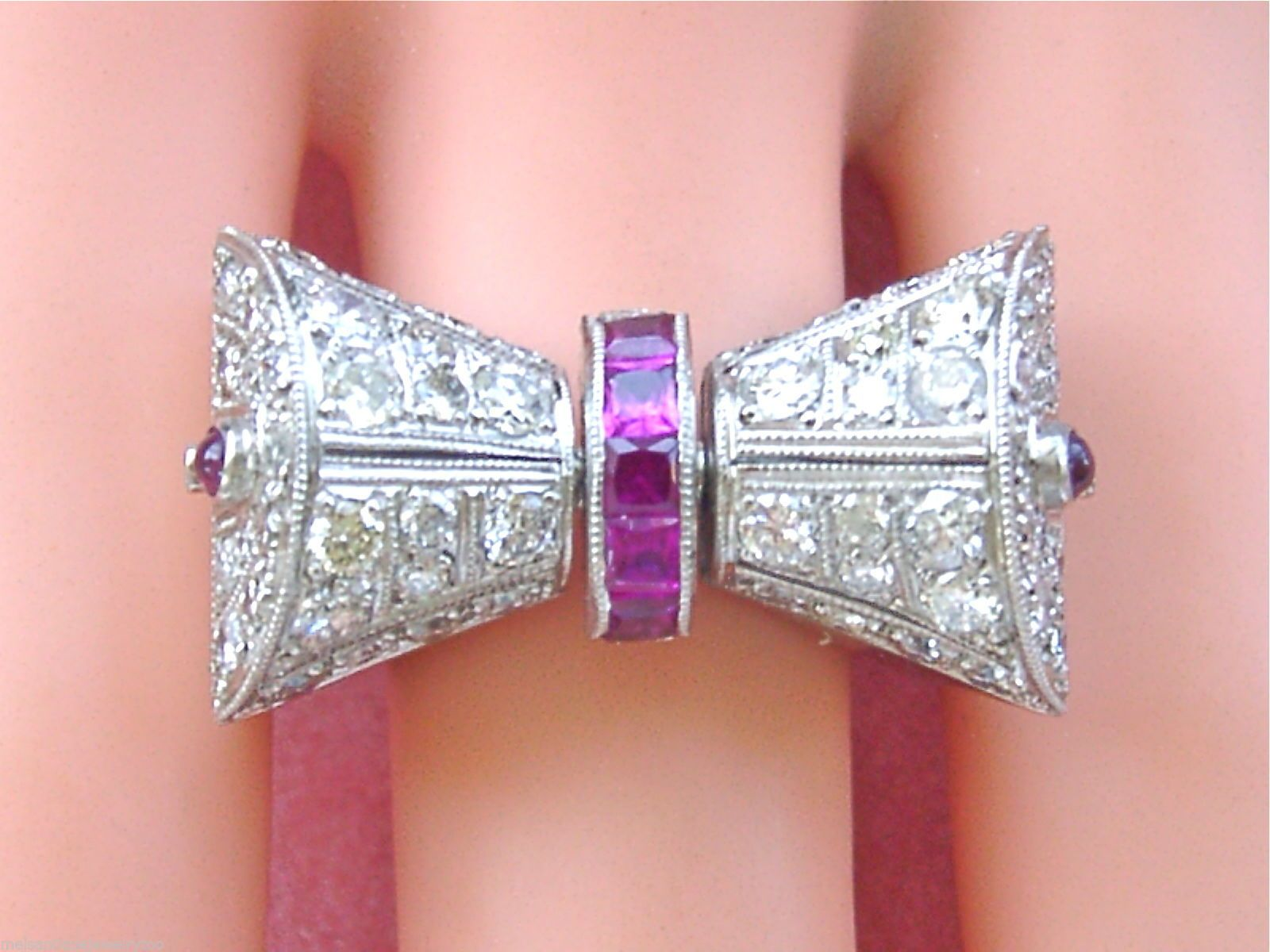 Plat. Deco spinning ruby bow ring | ruby rings | Pinterest | Ring