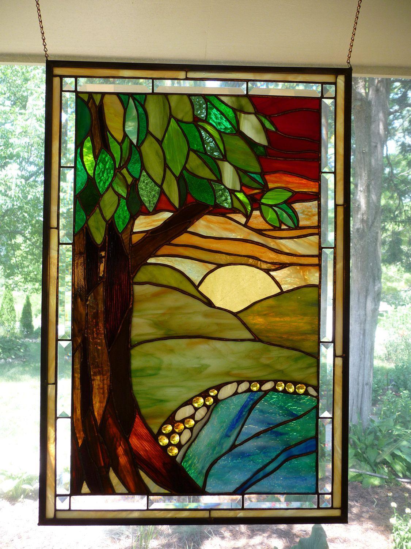 colorful tree scene panel tiffany pinterest handwerk glas und malen. Black Bedroom Furniture Sets. Home Design Ideas