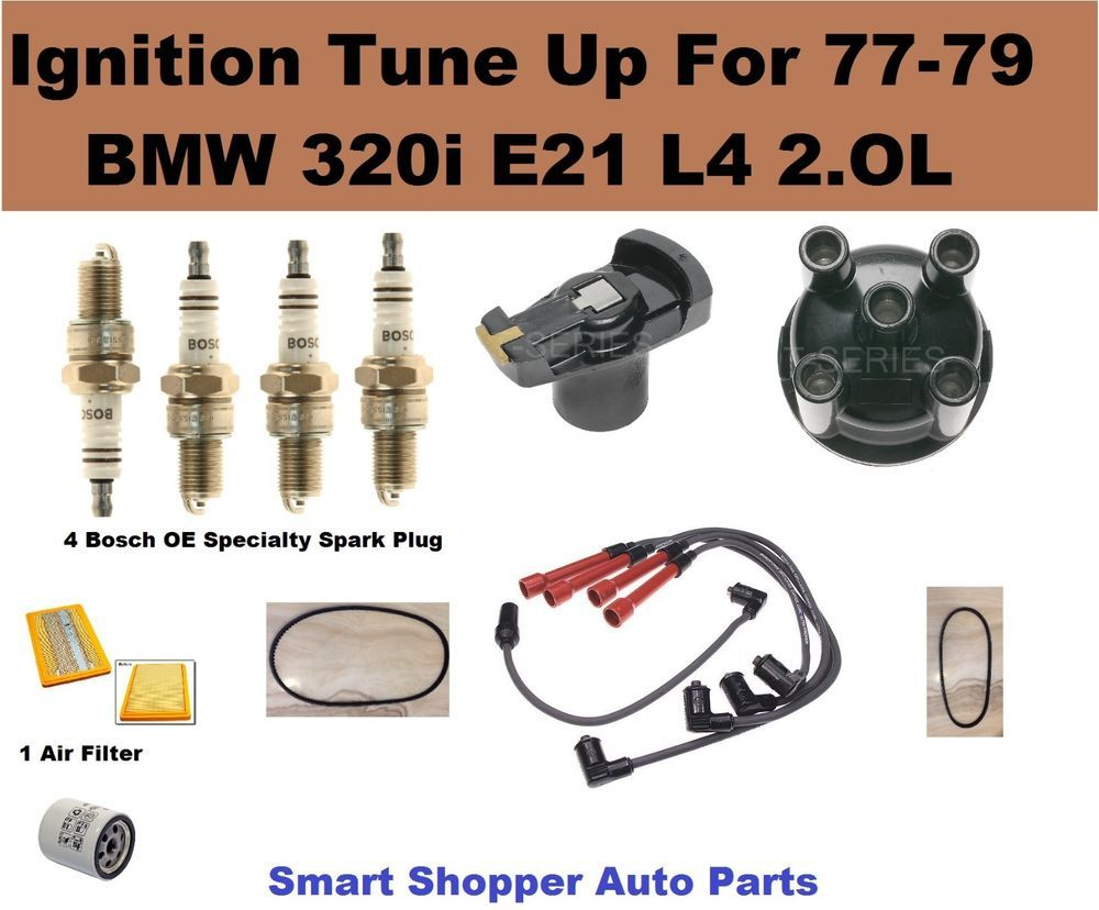 77-79 BMW 320I E21 L4 2.0L Spark Plug Wire Set, Cap Rotor Oil Air ...