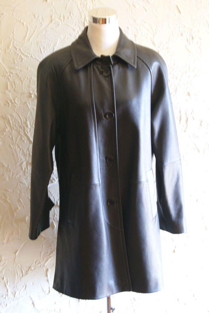 Valerie Stevens Black Lambskin Leather ¾ Length Coat Circa 2000s Size Medium #ValerieStevens #BasicCoat