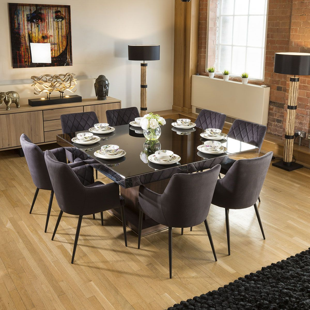 Large Square Walnut Dining Table Black Glass 8 Charcoal Carver