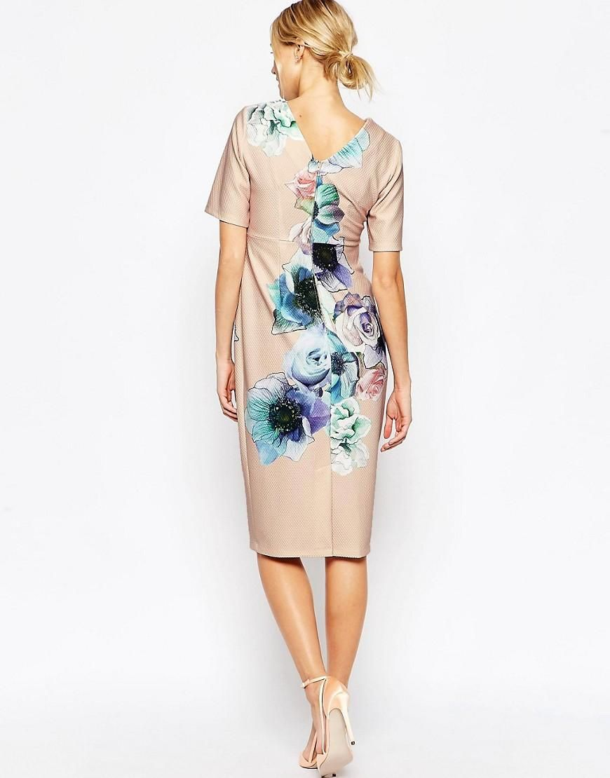 Maternity dress for wedding guest  ASOS Maternity  ASOS Maternity Wiggle Dress In Watercolour at ASOS