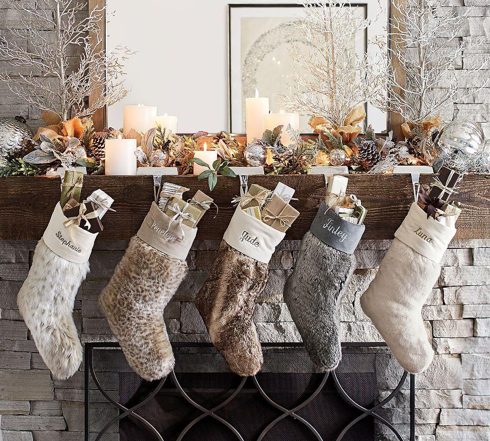Faux Fur Stockings Diy Christmas Mantel Pottery Barn Christmas