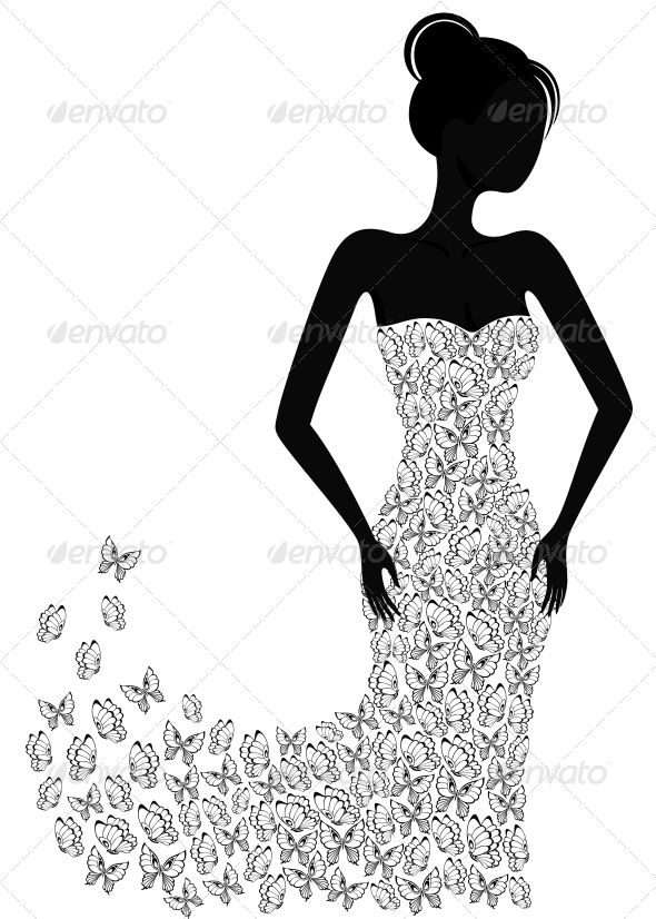 lady dress silhouette - Google Search | Silhouettes ...