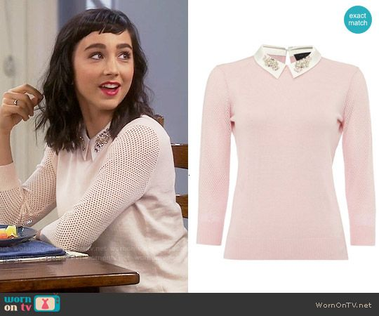Mandy's pink sweater with embellished collar on Last Man Standing ...