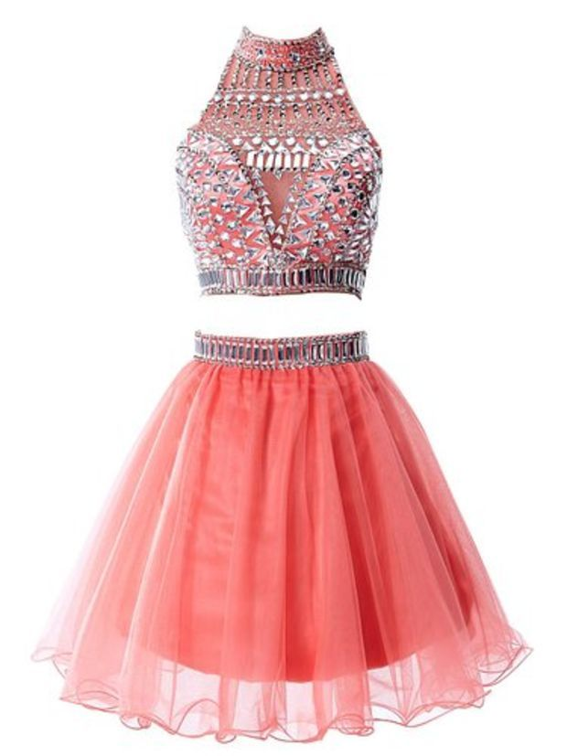 8e9dc57a04a Babyonline Two Pieces Coral Homecoming dress