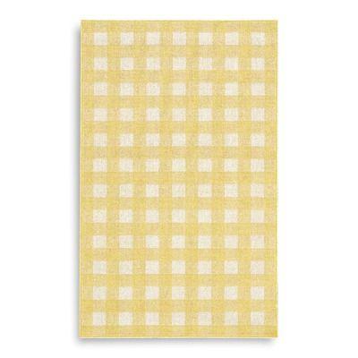 Karastan French Check Yellow Rug