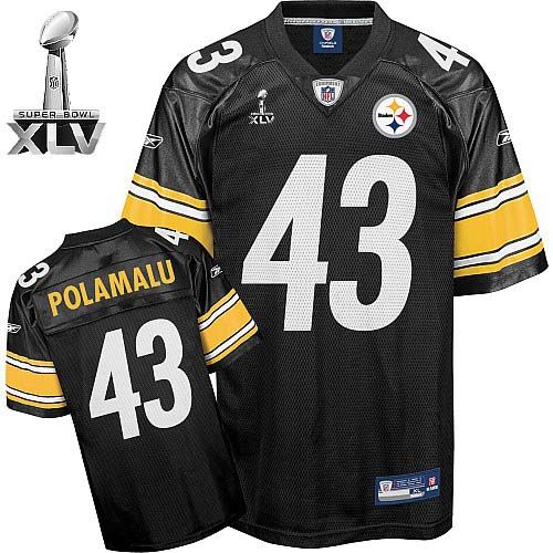 3c87a1f14 Steelers  43 Troy Polamalu Black Super Bowl XLV Embroidered NFL Jersey!  Only  22.50USD