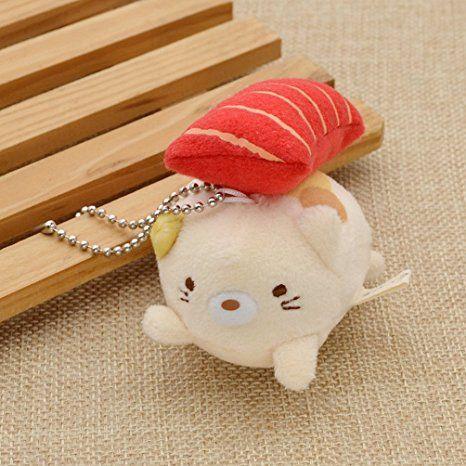 Amazon com: Cute Cat Pig Figure Keychain Short Plush Doll