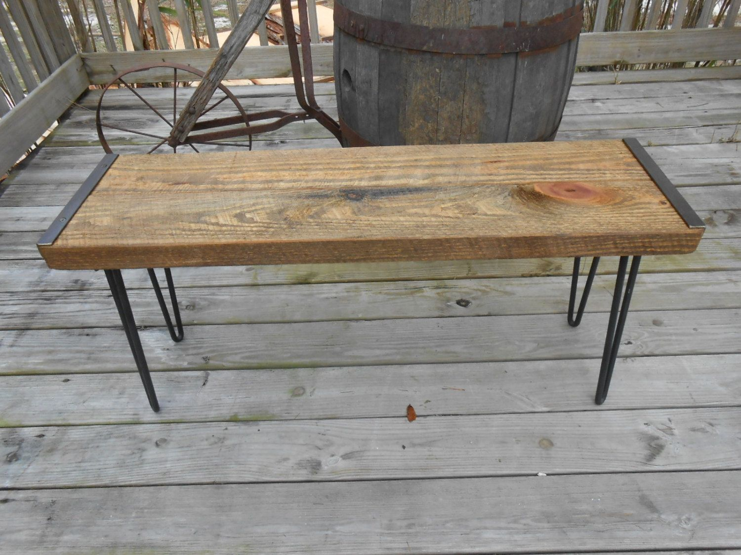 Wood bench Industrial bench Reclaimed barn wood