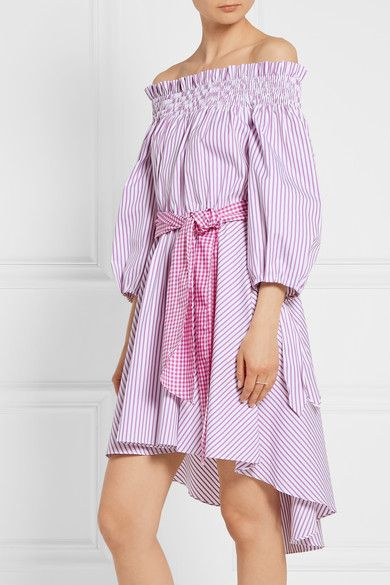 0ff97d94cd8 Caroline Constas - Lou off-the-shoulder striped cotton Oxford dress. Violet  and white cotton Oxford Slips on 100% cotton Dry clean