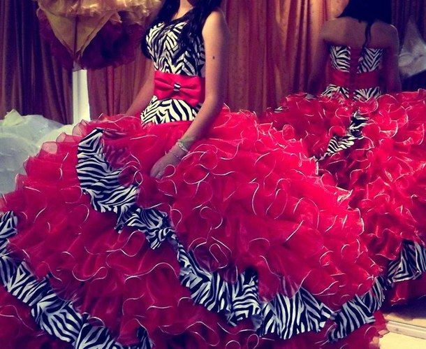 red, clothes, dress, rojo, quinceanera, zebra, quincea os ...