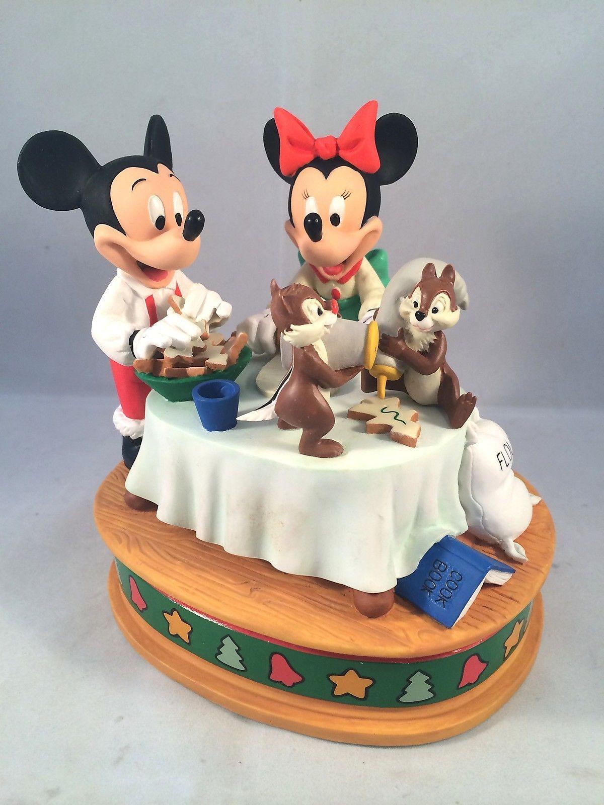 Disney Christmas Music Box Figurine Mickey Minnie Mouse Cookies ...