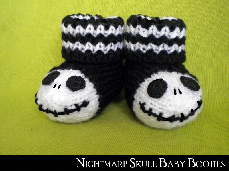 Cap Knitting Patterns : Jack Skellington Baby Booties pattern by Aunt Janets Designs Baby boot...