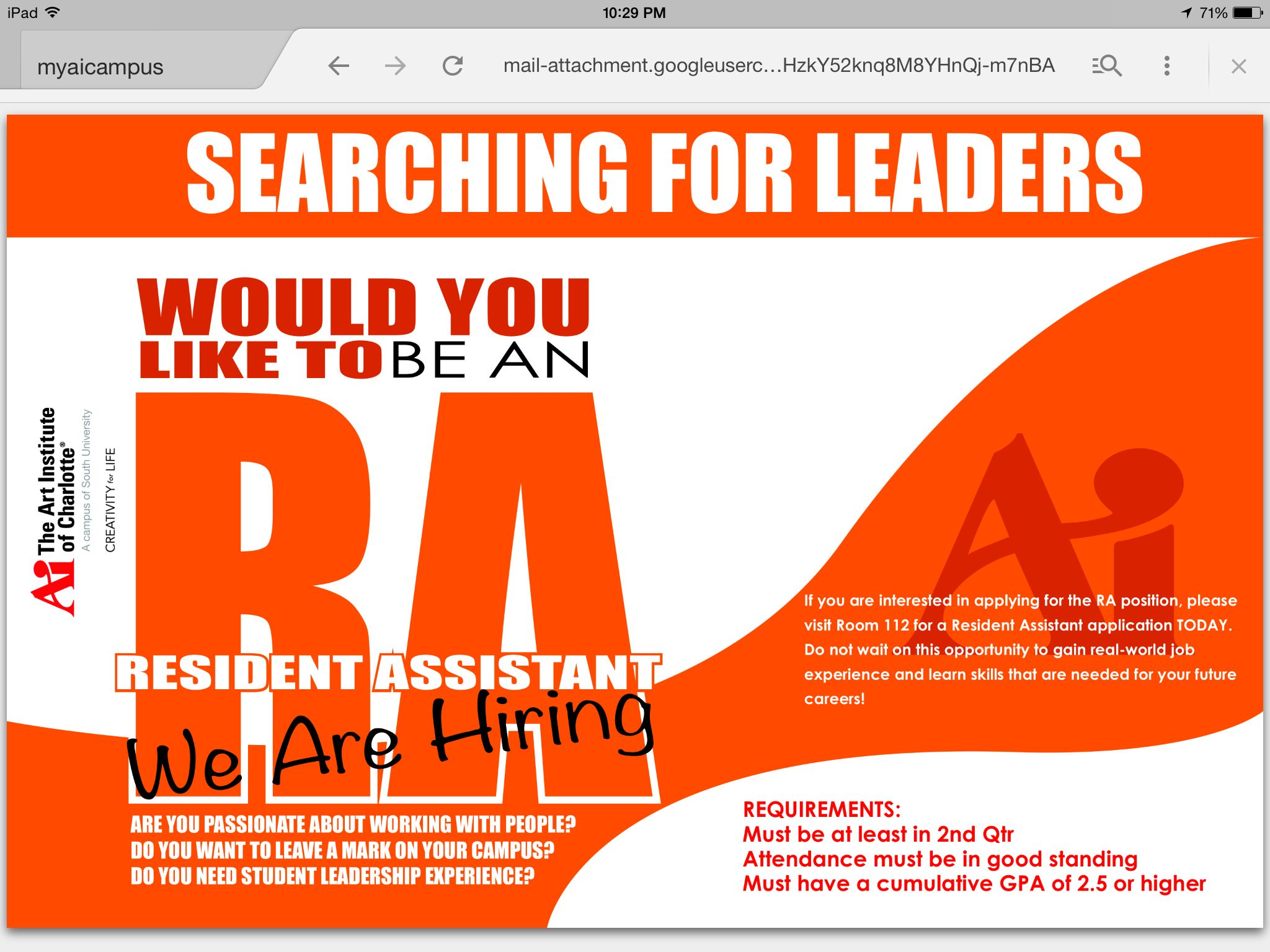 Resident Assistant Search Flyer  Campus Work At The Art Institute