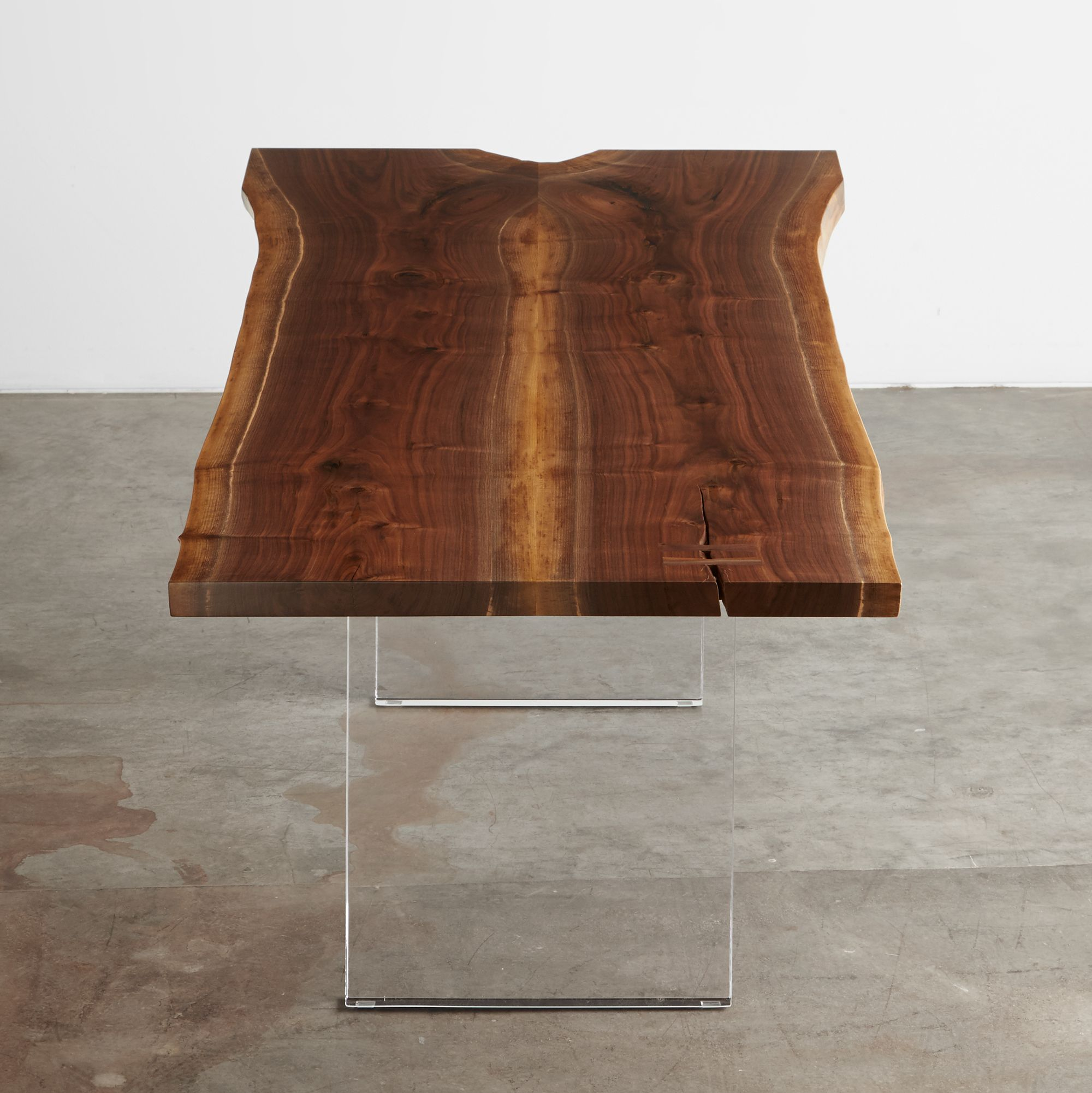 Walnut table with acrylic legs urbanhardwoods acrylic walnut salvagedwood sustainable furniture