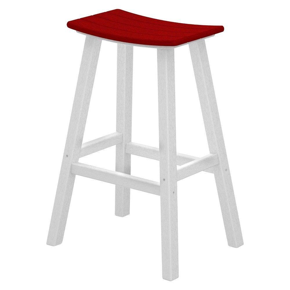 Contempo Patio Saddle Bar Stool White Red Polywood