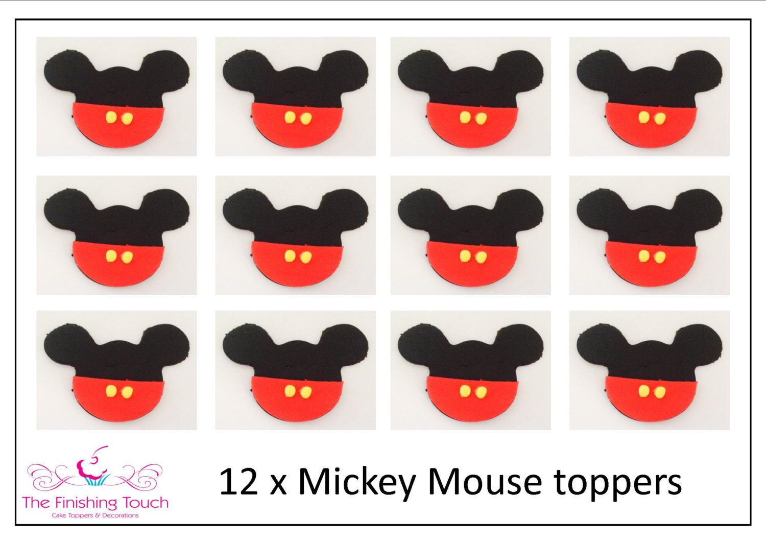 12 x Edible Fondant Mickey Mouse by FinishingTouch4Cakes on Etsy