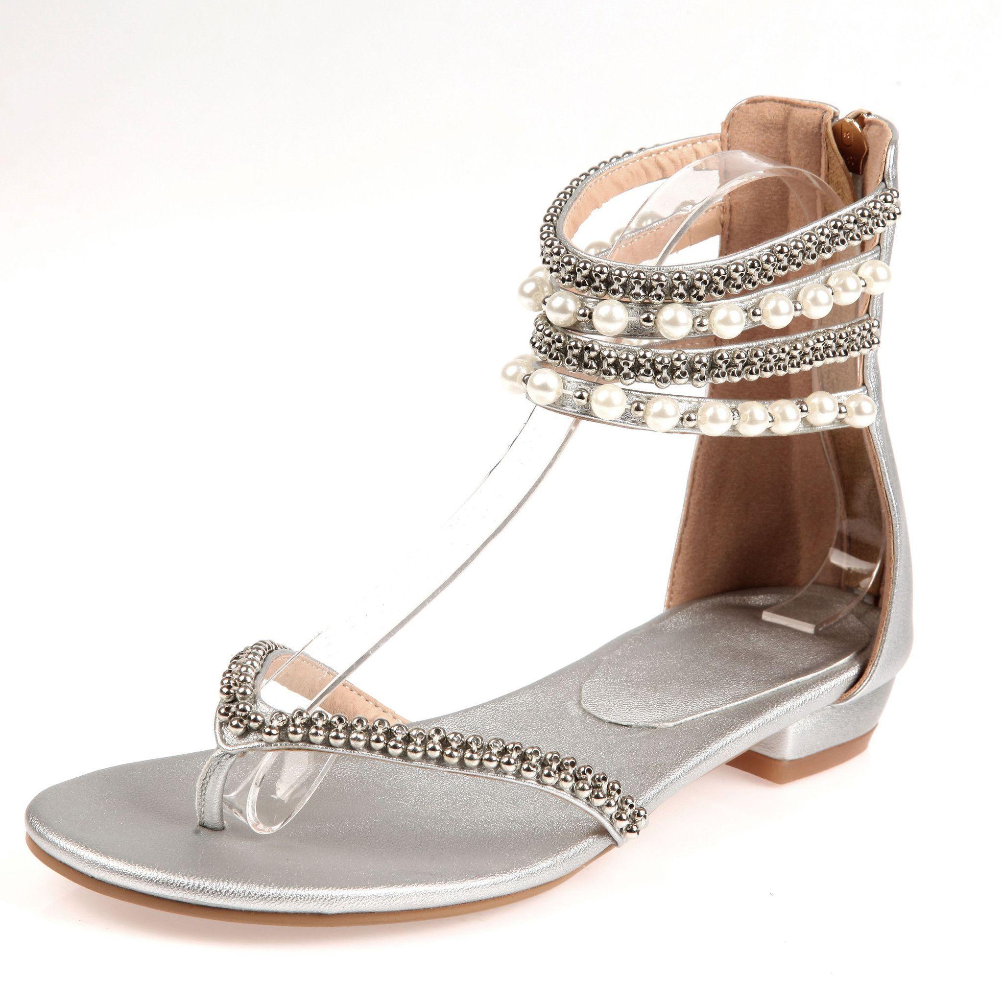 b397a29a40442b Beading Rhinestone Thong Women s Flat Flops Sandals