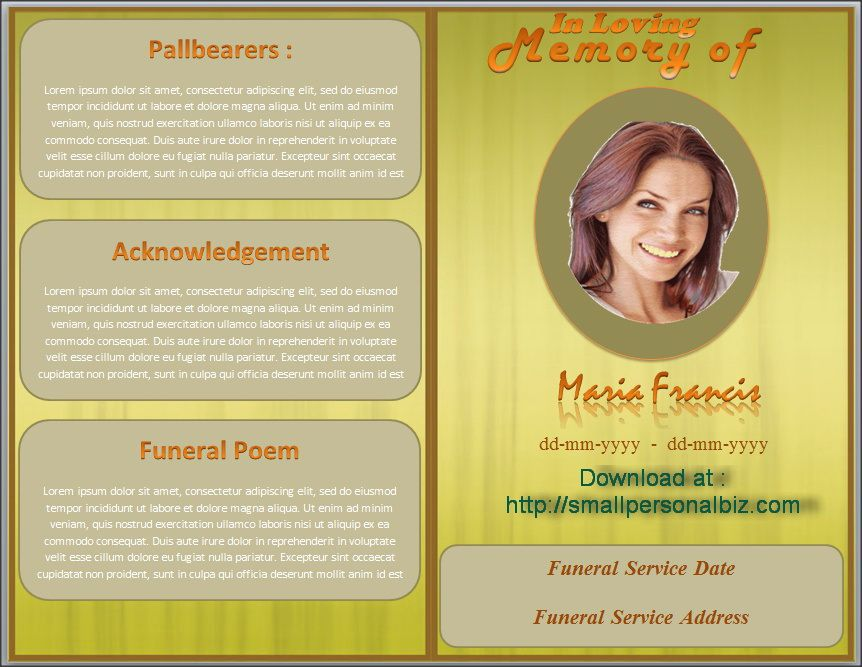 Download Funeral Program Template In MS Word With Design Of Brown Color  Background. Customizing The  Free Funeral Templates For Word