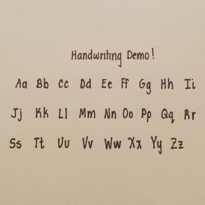 Neat handwriting alphabet