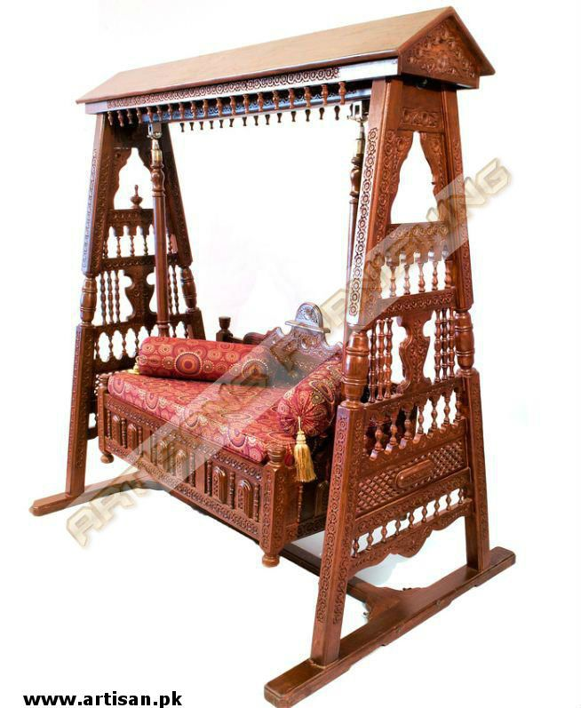 Hand Carved Punjabi Eligent Cradle Indoor Swing Jhoola Made In
