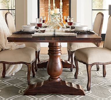 Bowry Reclaimed Wood Fixed Dining Table Rustic Finish