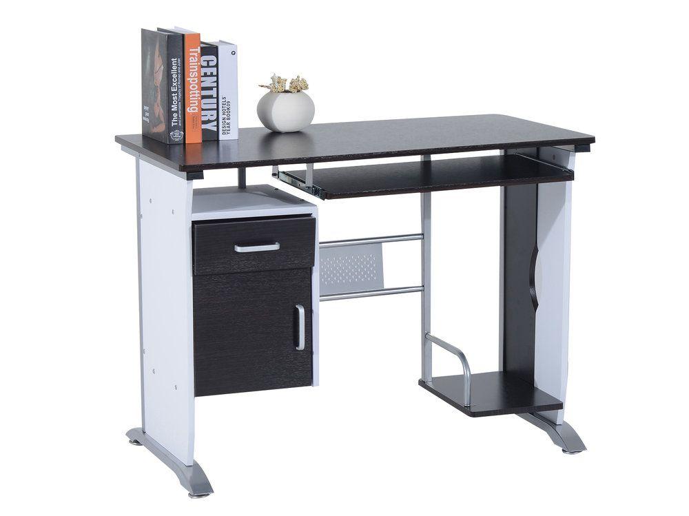 Bureau informatique design en bois l i h cm brun noir