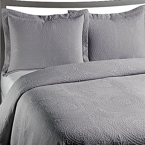 Awesome VUE™ Royal Medallion Matelasse Grey Coverlet, 100% Cotton