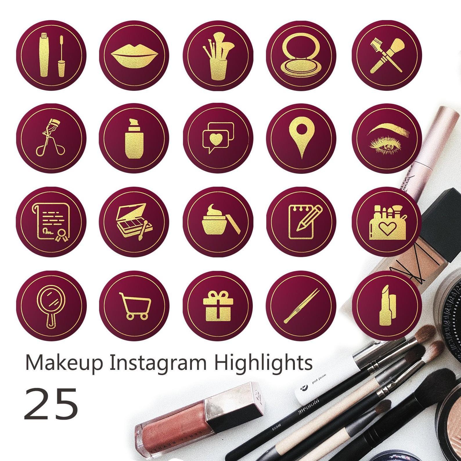 Burgundy Gold Instagram Highlights Iconsmakeup Artist Etsy In 2020 Instagram Highlight Icons Burgundy And Gold Instagram