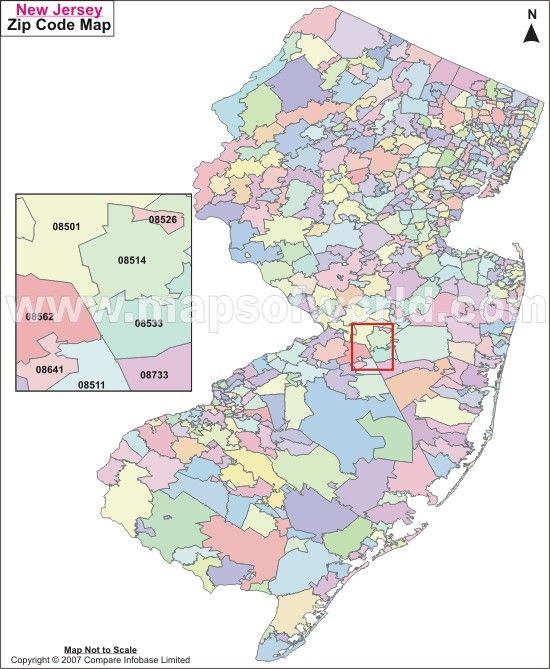 Zip Code New Jersey Map.New Jersey Zip Codes On A Map Maps Pinterest Map Zip Code Map