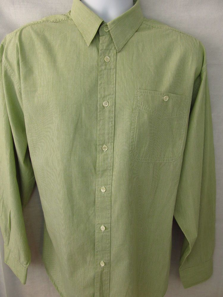 BUGATCHI UOMO Collection Mens Shirt Green XL Extra Large Striped Long Sleeve  #BugatchiUomo #ButtonFront $13.99