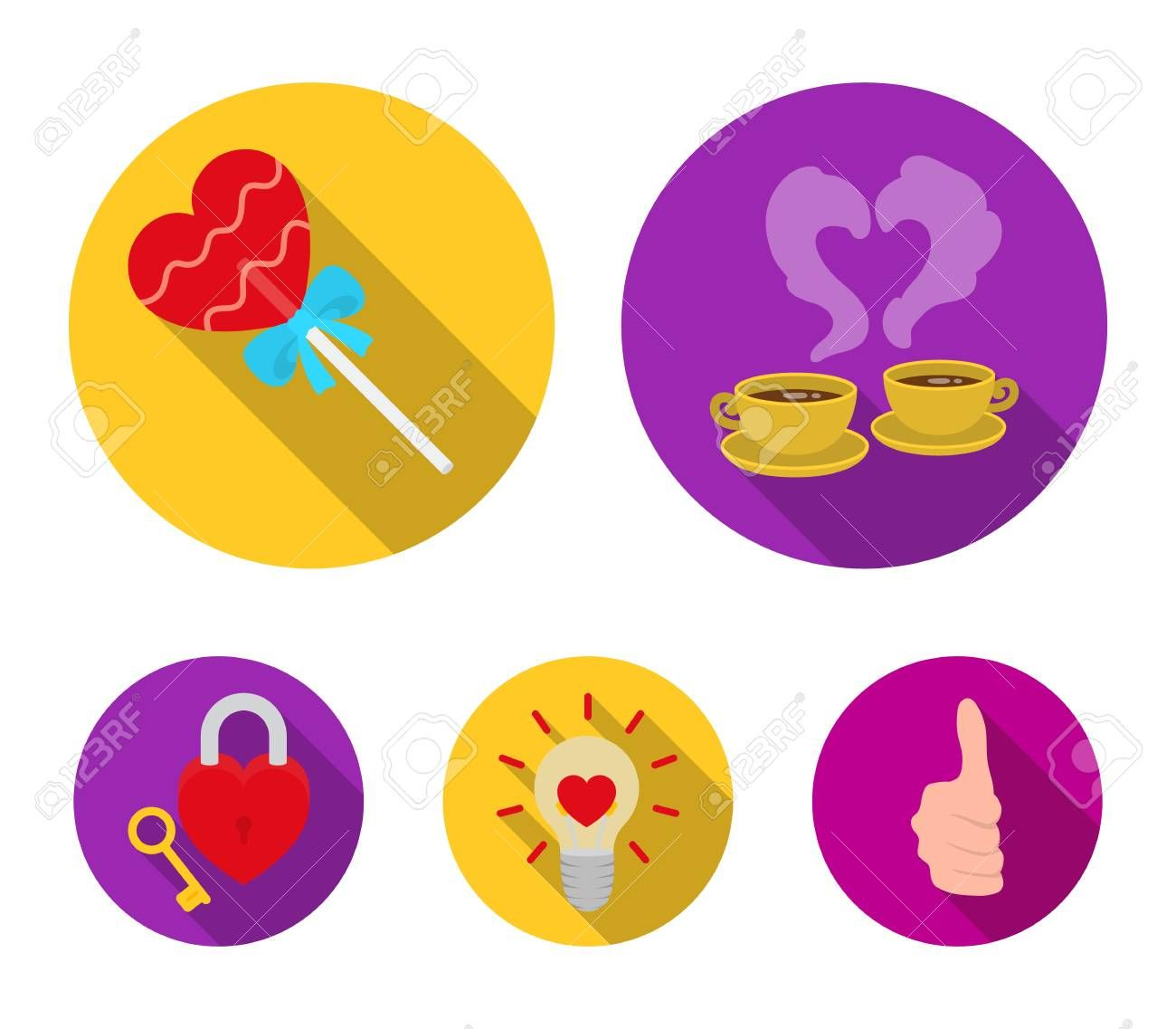 Cups with coffee valentine lamp lock with key Romantic set collection icons in flat style vector symbol stock illustration web