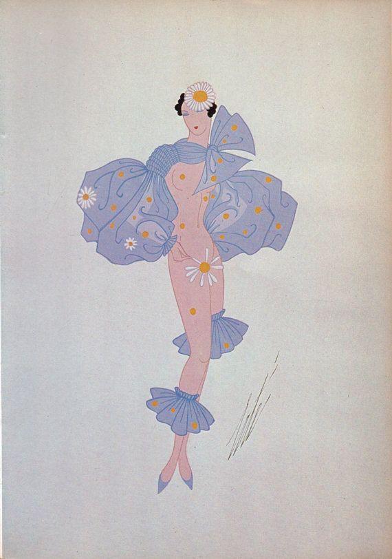 "Stampa di Erté, Art Deco ""Bal Tabarin"" Le Subjonctif 1935"