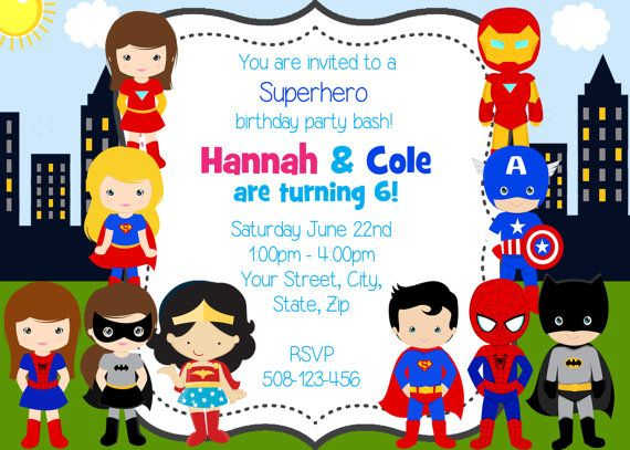 Boy And Girl Superheroes Twins Joint Party Custom Digital