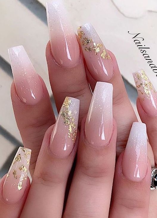 Nails In 2020 Gold Acrylic Nails Quinceanera Nails Formal Nails